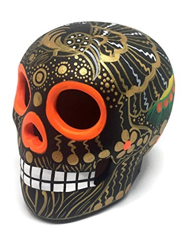 Ornament 2 X Mexican Ceramic Skulls Statue Day Of The Dead Halloween