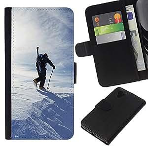 Planetar® Modelo colorido cuero carpeta tirón caso cubierta piel Holster Funda protección Para LG Google NEXUS 5 / E980 / D820 / D821 ( Winter Skiing )