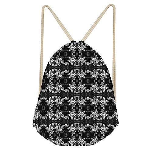 Black And White Budding Crepe Myrtle Pattern 1 Drawstring Bag Gym Sackpack for Hiking Yoga Gym Swimming Travel Beach