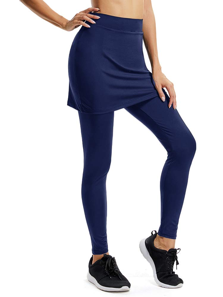 Women's Yoga Pants Tights Athletic Skorts Running Skirted with Full Length Leggings Sun Protection #99178,Dark Blue,US M