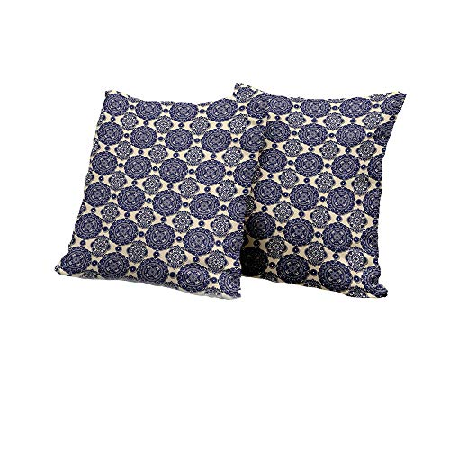 (Toddler Pillowcase Mandala,Ornamental Flower Pattern Shadow Effect Royal Retro Revival Medieval Exotic,Beige Navy Blue Double-Sided Printing Pillowcase 14x14 INCH 2pcs)