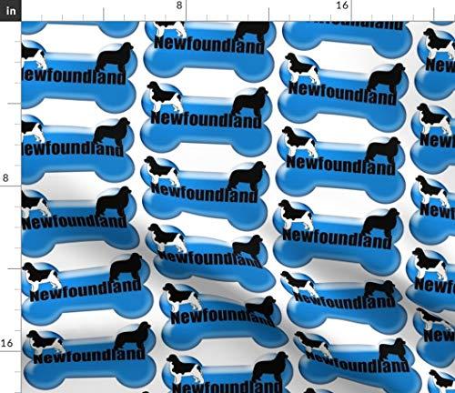 Spoonflower Dog Bone Fabric - Newfoundland Blue Dog Fabric Animals by Dogdaze Printed on Petal Signature Cotton Fabric by The Yard