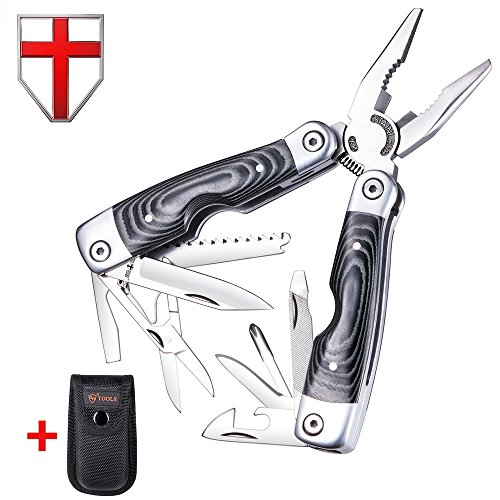 Multitool- Micarta Handle Multi-Tool 13-in-1 with Knife, Pliers and Scissors - Utility Tool with Large Knife and Saw - Mini Tool for Camping, Hunting, Survival & Outdoor - Grand Way 59029