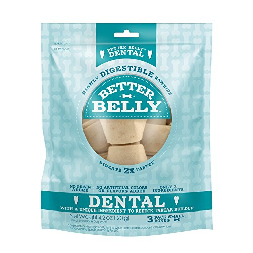 Better Belly Dental Small Bones 3 Count, Highly Digestible Rawhide, Reduces Tartar Buildup