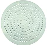 Winco APZP-19SP, 19-Inch Super-Perforated Aluminum Pizza Disk with 652 Holes, Pizza Screen Crisper