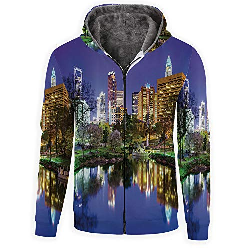 iPrint Men's Long Sleeve Full-Zip Bomber Jacket Hooded Varsity Jacket ()