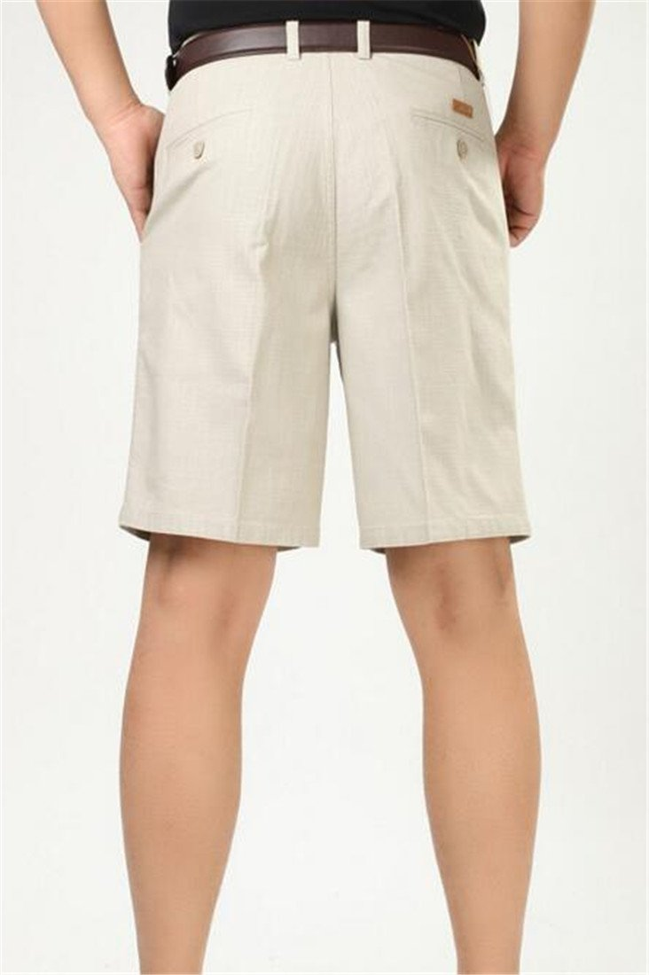 Pivaconis Mens Pleated Classic Fit Summer Casual Baggy Fit High Waist Shorts Khaki 36 by Pivaconis (Image #2)