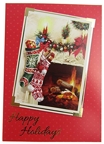 Pack- Traditional Christmas Scene of Stockings Hung by the Chimney with Care - Gold Foil Accents ()