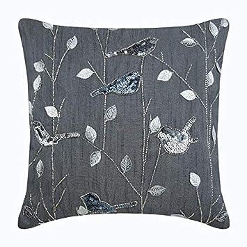 Amazon.com: Lujo Gris Cubierta de almohadas decorativas ...