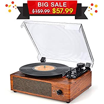 Record Player Vinyl Record Player Turntable Wireless Vintage Record Player Turntable for Vinyl Records, 3 Speed Record Player Belt in Driven Stereo Speakers Portable Vinyl Player