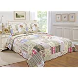 ALL FOR YOU 3-piece 100% COTTON Reversible Bedspread/Coverlet/Quilt Set- OverSize(to the floor) -Real patchwork (king, Cal King)