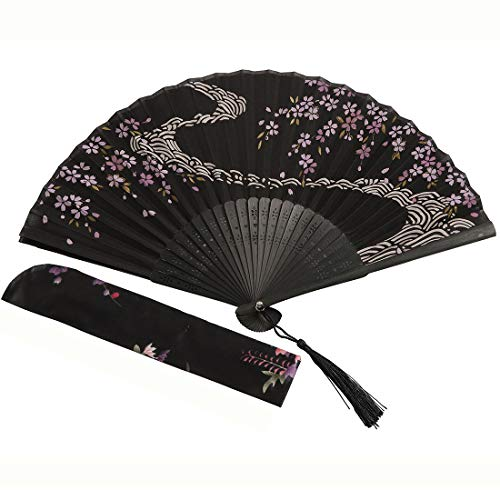 Folding Chinese Fan,Japanese Vintage Portable Hand Held Fans with Fabric Sleeve for Women Girl(Black)
