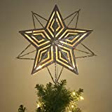 Valery Madelyn Gold Christmas Tree Topper with 10 Warm Yellow LEDs, Required 2 Pcs AA Batteries(Not Included)