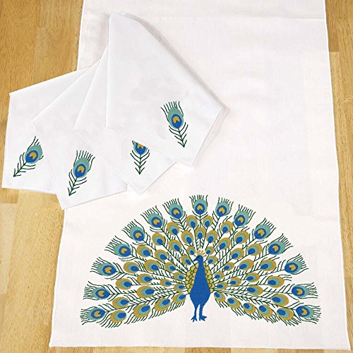 Napkins Stamped Embroidery - Herrschners® Peacock Promenade Table Runner & Napkins Stamped Embroidery