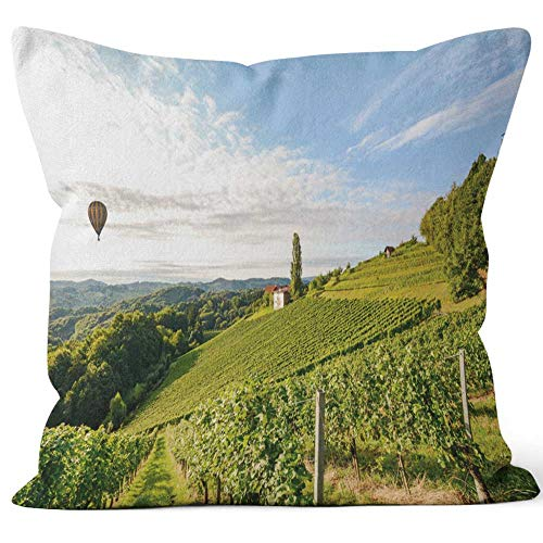 Vineyards with hot air Balloon Near a Winery Before Harvest in The Tuscany Wine Growing Area Throw Pillow Cushion Cover,HD Printing Decorative Square Accent Pillow Case