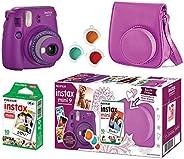 Câmera Instantânea Fujifilm Instax Mini 9 Com 3 Filtros Coloridos, Bolsa e Filme 10 Poses – Roxo Açai, Fujifil