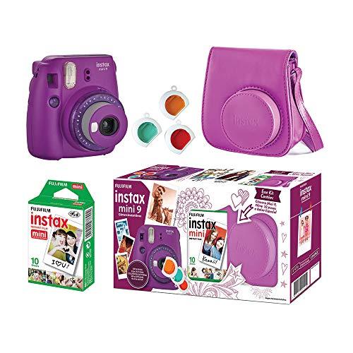 Câmera Instantânea Fujifilm Instax Mini 9 Com 3 Filtros Coloridos, Bolsa e Filme 10 Poses – Roxo Açai, Fujifilm, 705065384, Roxo Açai