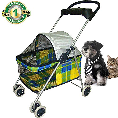 Jogger Pet Stroller for Small & Medium Dogs/Cats 35Lbs Capacity Kitten Doggie Cage Waterproof Foldable Travel Carrier Puppy Strolling Cart Durable Large 4 Wheels Cat Dog Stroller with Cup Holders