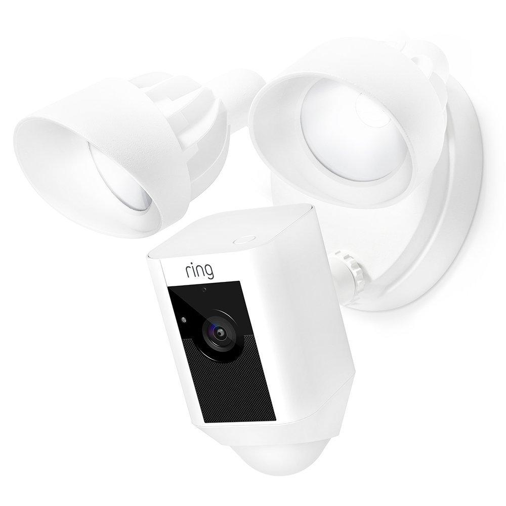 Ring Floodlight Cam - Cámara de seguridad con focos, comunicación bidireccional, alarma y conexión wi-fi, blanca