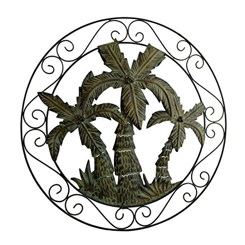 ques Antique Bronze Scroll Motif Tropical Palm Trees Wall Hanging 21.5 X 21.5 X 2 Inches Green (Decorative Metal Scroll)