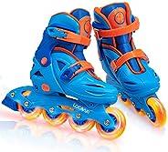 Adjustable Inline Skates for Girls Boys Kids with Light up Wheels, Illuminating Hard Shell Roller Blades for I