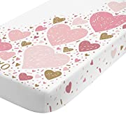 NoJo Photo Op 100% Cotton Fitted Crib Sheet, Heart/XOXO, Pink/Gold