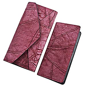 Women Synthetic Leather Matching Wallet Clasp Clutch Handbag Horizontal Format (Colour - Burgundy)