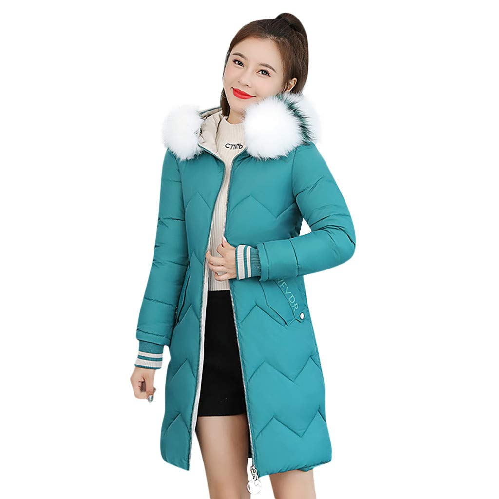 Bollysky Women's Open Front Cardigan Coats Fashion Outerwear Long Cotton-Padded Jackets Pocket Faux Fur Hooded Coats Fashion Trend Costumes by Bollysky