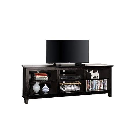 Amazon Com Ats 70 Inch Tv Stand Wood Modern Storage Black Shelves