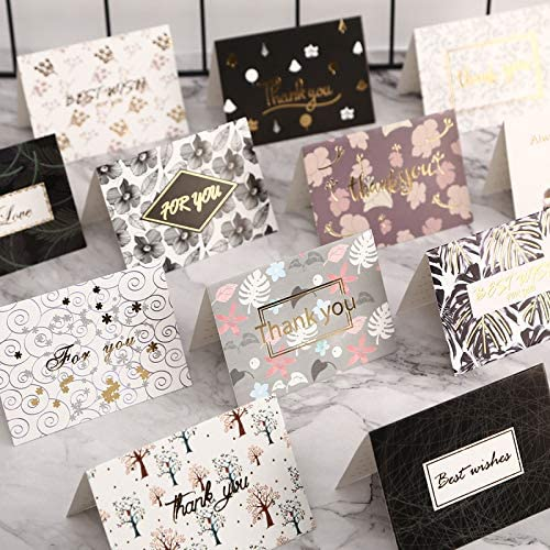 Baby Shower Graduation Wedding Birthday Party and All Occasions Gift Cards QAQGEAR 120PCS Gold Foil Thank You Card 15 Designs with Envelopes for Business