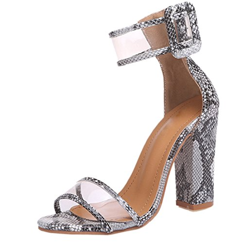 Ladies Perspex High Heel Snake Grain Print Ankle Strap Fashion Party Shoes Size 3-8 Serpentine eMAii2zzSD