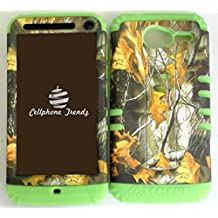 Cellphone Trendz Hybrid 2 in 1 Case Hard Cover Faceplate Skin Lime Green Silicone and Camo Mossy Hunter Dry leaves Snap Protector for Motorola Electrify M XT901 + Free Wristband Accessory - Cellphone Trendz