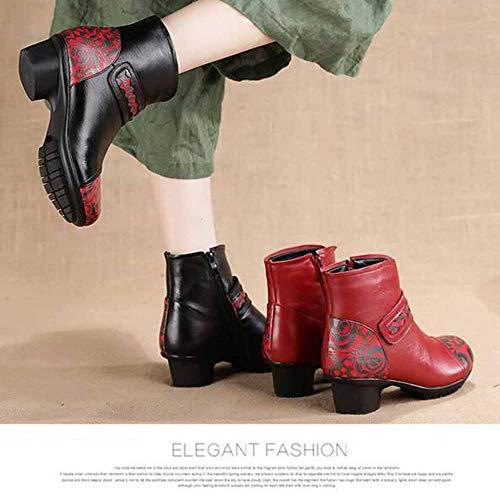 Colore Spessa Tacco Di Stile Boots E Pelle Martin Inverno Womens Stampa Red Stivali Medioevo Autunno Etnico Ladies Caldo qaZzZwv