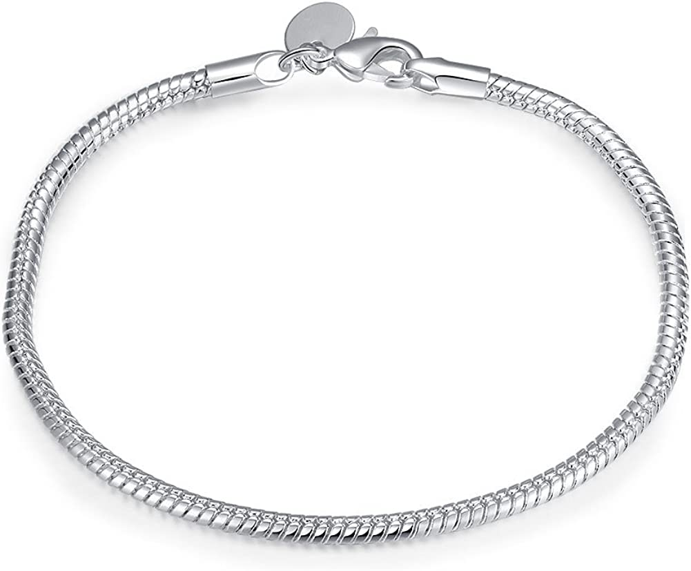 B53113313331 Silver Plated Snake Chain Lobster Clasp Necklace 18inch