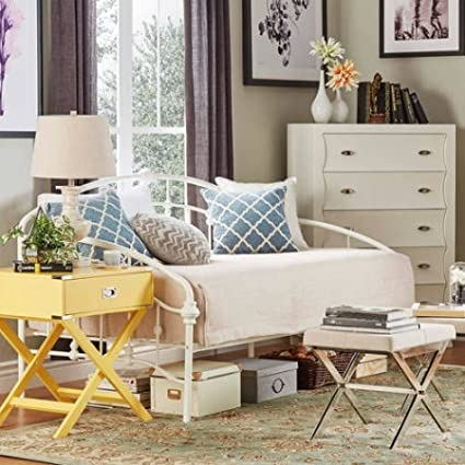 Amazon.com: Metal Daybed, Antique White Finish, Living Room ...