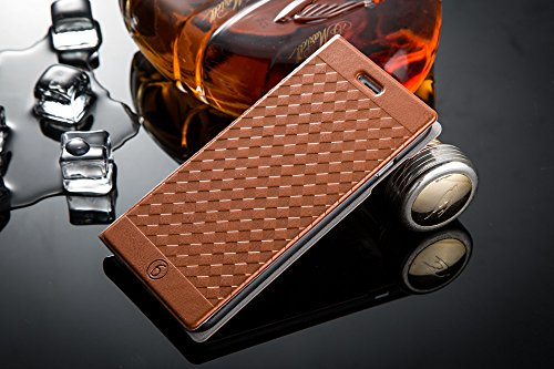 """iPhone 6 Plus Case, iPhone 6 Plus Flip Leather Case, ACO-UINT Premium Luxury Deluxe Ultra Slim Woven Pattern Flip Folio PU Leather Case Cover Wallet Folding Stand with Credit Card Slot for Apple iPhone 6 Plus 5.5"""", Two Stylus Pens/2 Screen Protector/ACO-UINT® Microfiber Cleaning Cloth Included (Deluxe Flip Case - brown)"""