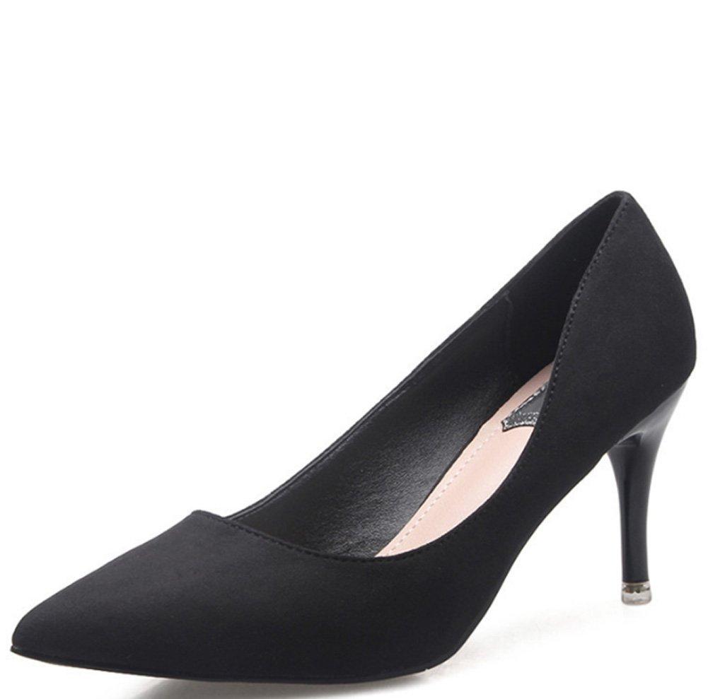LBDX Stöckelschuhe, Frühling und Sommer Mode Ms Schlanke High Heel Pointed Sexy (Farbe : Schwarz, größe : 38) -
