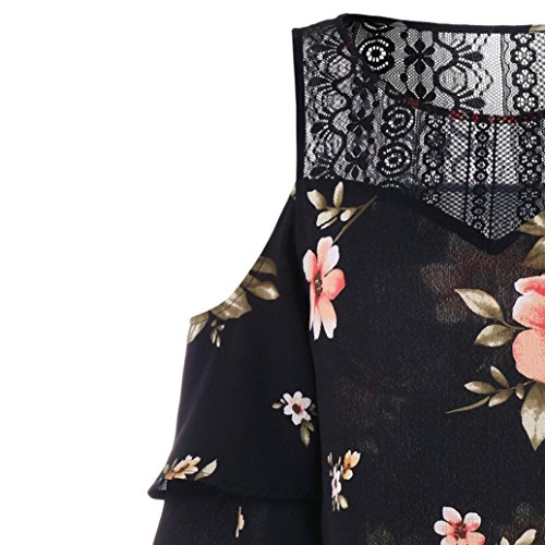 Épaule Taille Fille Splice Été Adeshop Courtes Vêtements Mousseline Nu Grande Fashion Florale T À Slim Manches Blouse Tops Femmes shirt Noir Décontractée Dentelle Impression 1w1Ataq5
