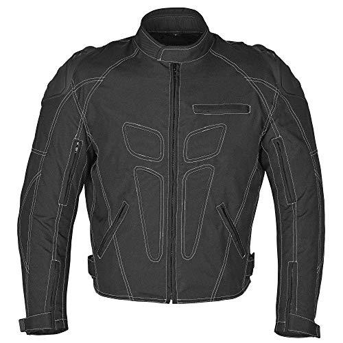 (WICKED STOCK Men Four Season Motorcycle Textile Race Jacket WaterProof Black CE Protection)