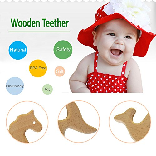 Hombae Wooden Teether Rings Natural Wood Teething Toys for Infant, Wooden Teether Animals for Toddler, Soothing Pain Relief Toys for Baby Shower Gift (Unicorn, Elephant, Whale, Kangaroo, 4Pack)