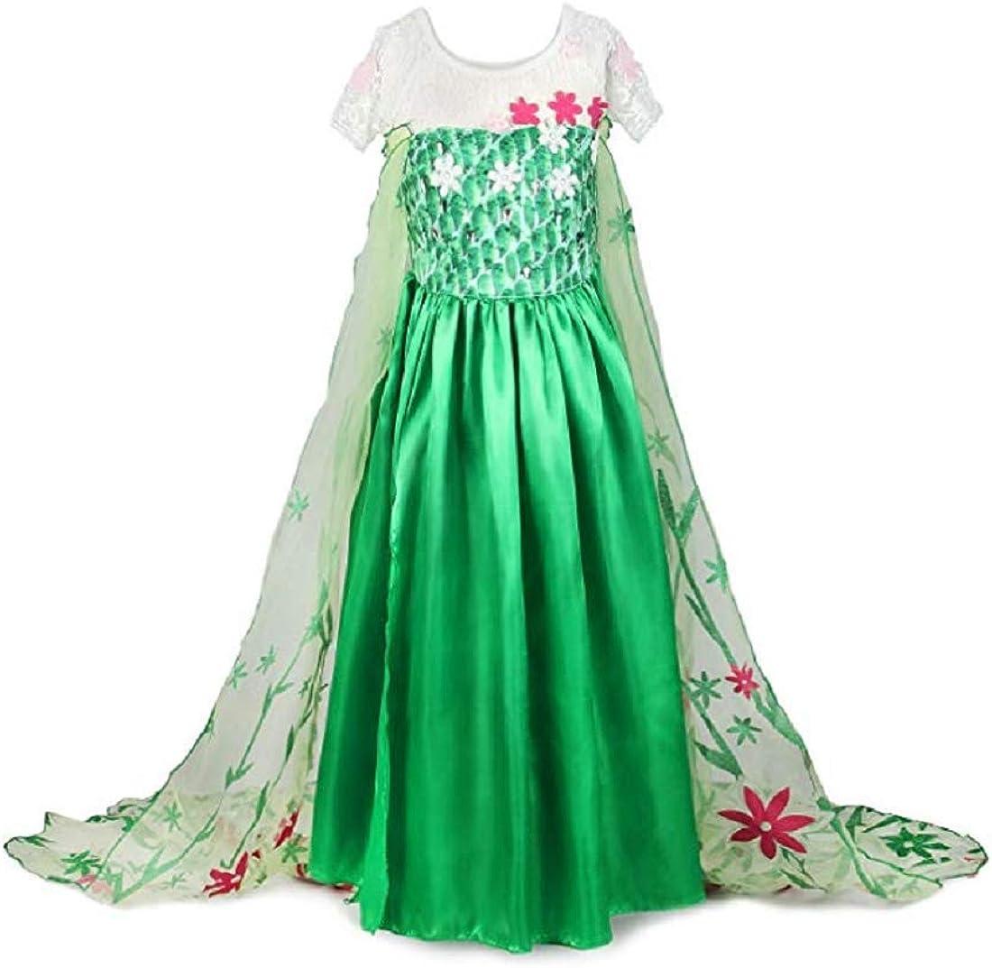 Frozen Fever Inspired  Green Foral Elsa Dress Elsa Costume