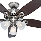 Hunter Fan 42 inch Traditional Brushed Nickel Ceiling Fan with Three-Light Fitter and Swirled Marble Glass, 5 Blade (Certified Refurbished)