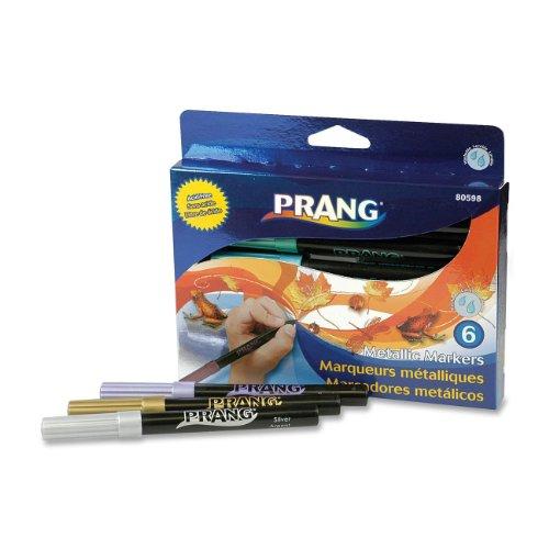 Prang Metallic Art Markers, Bullet Tip, Assorted Colors, 6 Count (80598)