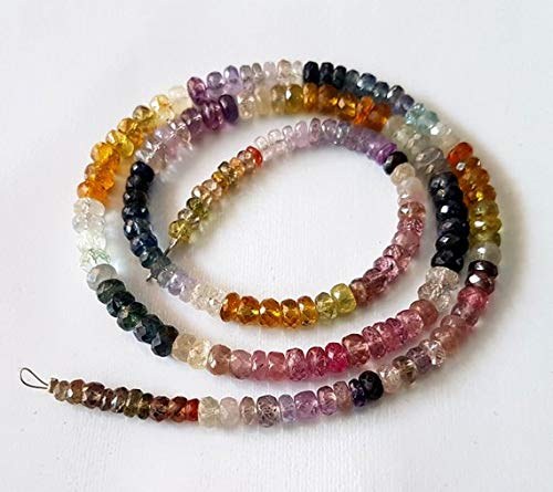 50% Off Kalisa Gems Natural Multi Sapphire Gemstone Full 18 inch Strand Multi Sapphire Faceted Rondelles,3-5 mm Approx,Precious Stone,Loose Gemstone