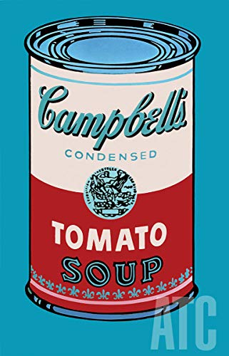 ArtToCanvas 34W x 54H inches : Campbell's Soup Can, 1965 (Pink & red) by Andy Warhol - Paper Print ONLY Andy Warhol Campbells Soup Can