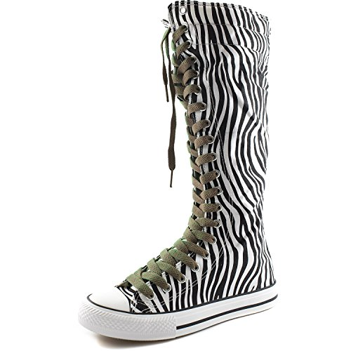 DailyShoes Womens Canvas Mid Calf Tall Boots Casual Sneaker Punk Flat, Zebra Boots, Taupe Lace