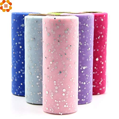 Home Decorations for Christmas Tulle Lacefabrics 10YardX15cm Glitter Sequin Tulle Roll Crystal Organza Sheer Gauze Element Table Runner&Home Garden/Wedding Party Decoration (Random) from HATABO