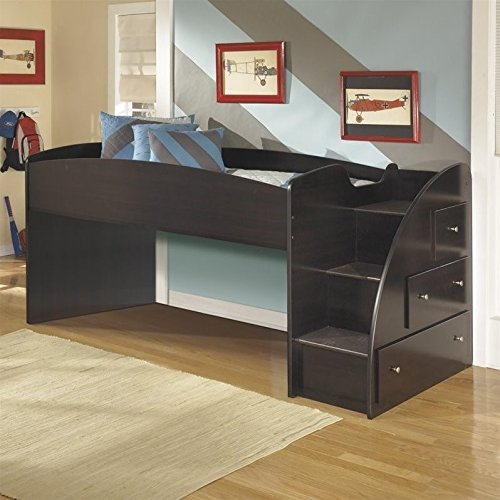 Ashley Embrace 3 Drawer Wood Twin Right Loft Bed in Merlot