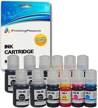 Printing Pleasure 105 106 Pack de 12 Botellas de Tinta para Epson EcoTank ET-7700 ET-7750: Amazon.es: Electrónica