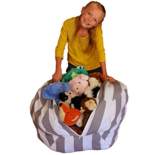 stuffed animal storage bean bag chair premium canvas clean up the room and put those. Black Bedroom Furniture Sets. Home Design Ideas